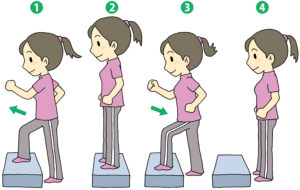 冷えを改善する運動のひとつ踏み台昇降